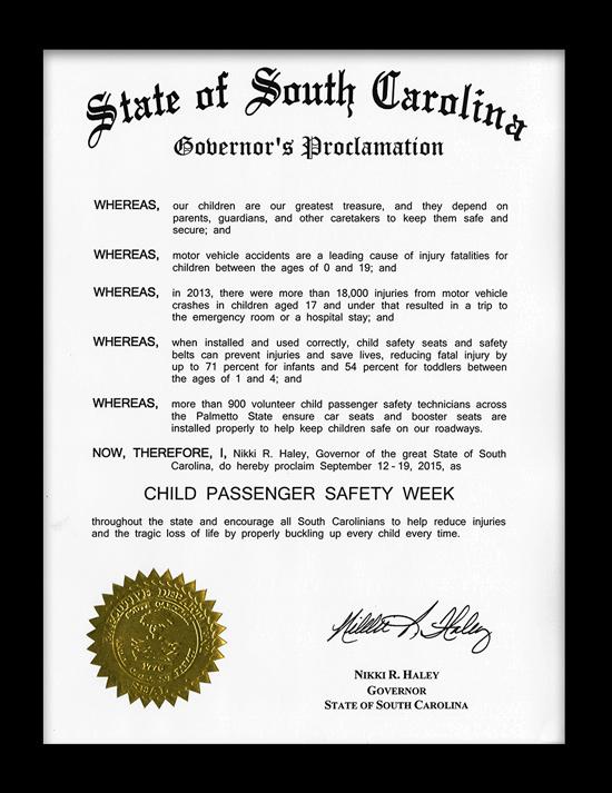 Child Passenger Safety Week Proclamation 2015