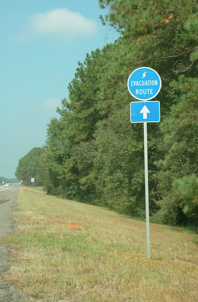 Evacuation Route Road Sign