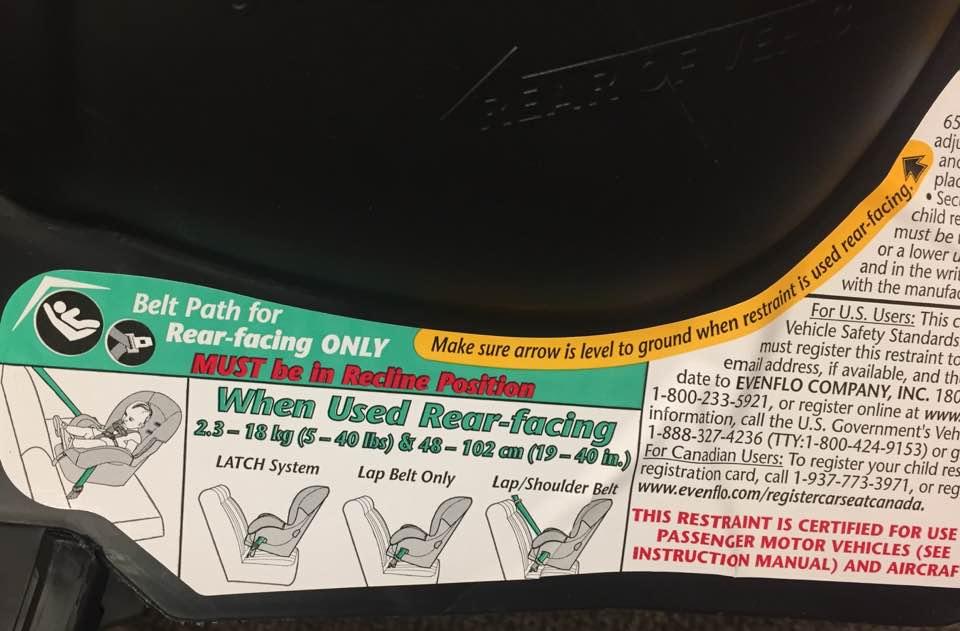 Convertible car seat label