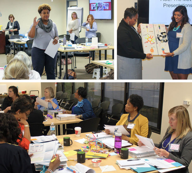Collage of ACE training at Children's Trust