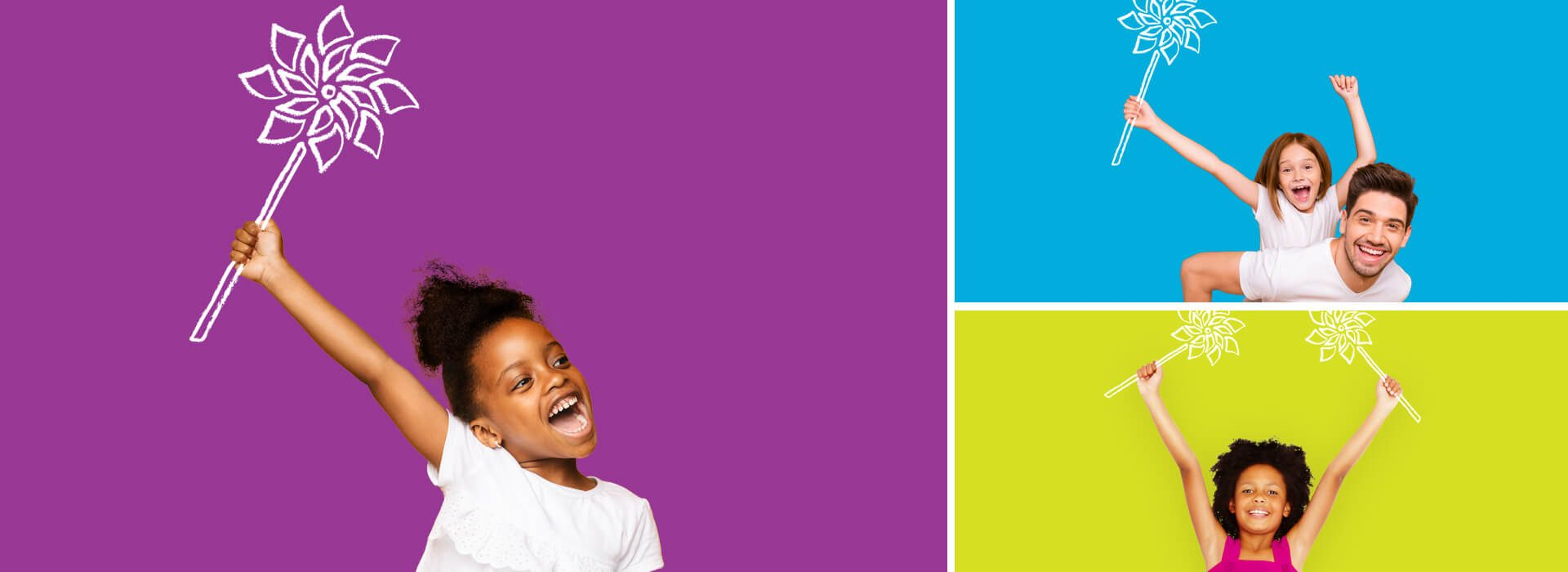 Collage of kids holding pinwheels over bright backgrounds