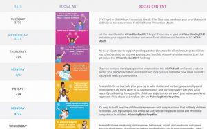 Child Abuse Prevention Month 2021 Social Media Calendar