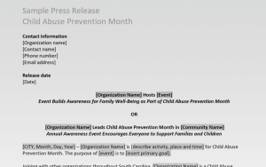 Child Abuse Prevention Month 2021 Sample Press Release