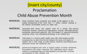 Child Abuse Prevention Month 2021 Sample Proclamation