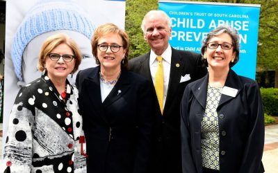Sen. Katrina Shealy, DSS director Susan Alford, Gov. Henry McMaster and Children's Trust CEO Sue Williams gather at the Governor's Mansion for the start of Child Abuse Prevention Month in April.