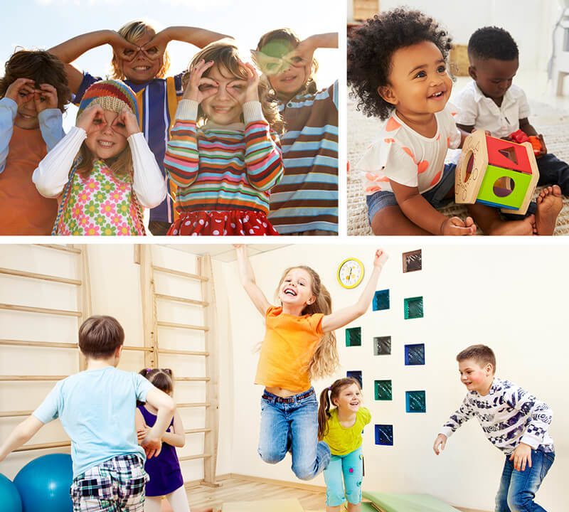 Collage of kids playing