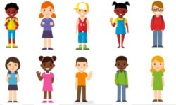 Group of cartoon people of different races