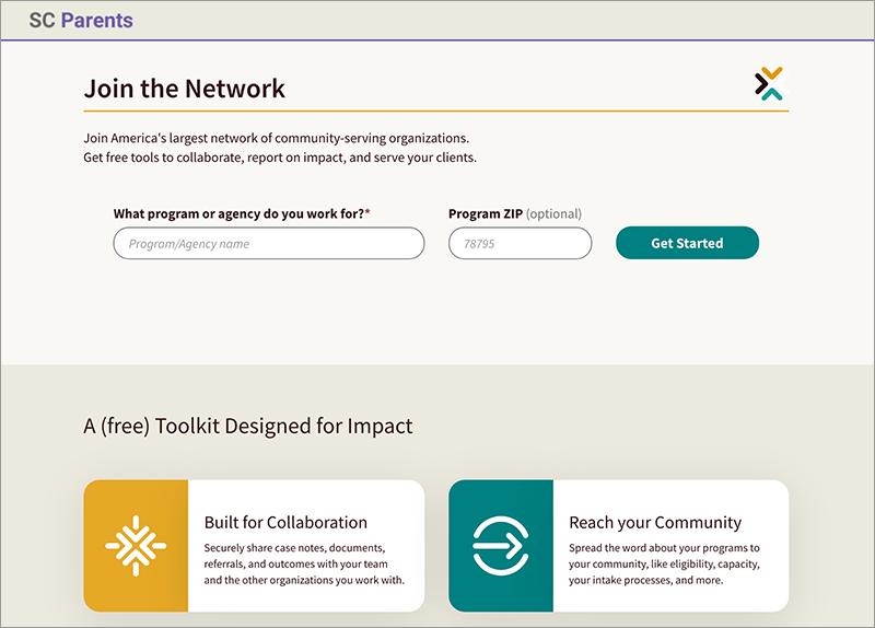 SC Parents Aunt Bertha webpage screenshot, Join the Network.