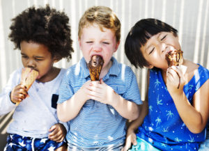 Children enjoying ice cream