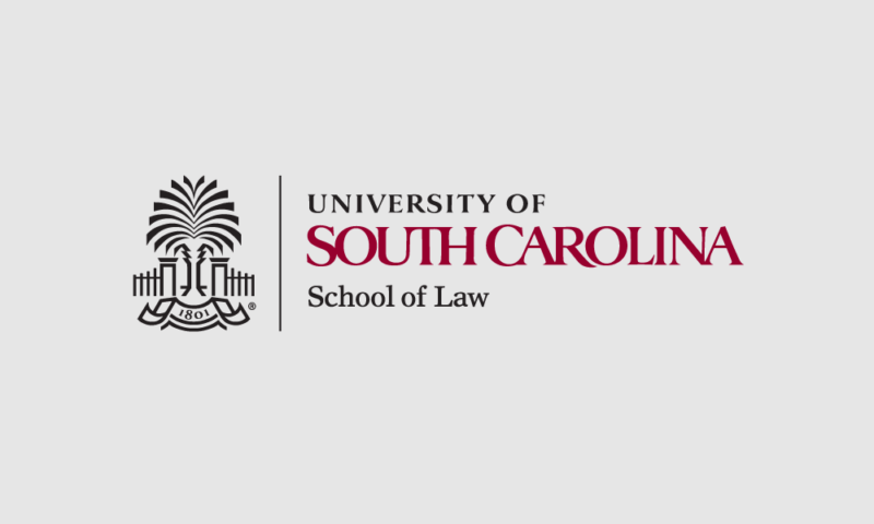 USC School Law logo with gray background graphic